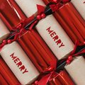 Luxury Red Foiled Merry Christmas Crackers (6 Pack):
