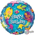 Birthday Mermaids Round Holographic Foil Balloon (46 cm):