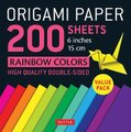 Origami Paper 200 Sheets - Rainbow Colors (Paperback): Tuttle Publishing