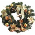 Gold Wreath with Poinsettia & Bow 40cm: