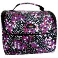 Tosca Medium Floral Printed Vanity Case - Black: