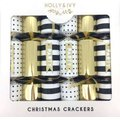 "Holly & Ivy 14"" Luxury Crackers - Gold Foil & Matt Black Patterns (6 Pack):"