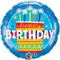 Birthday Cake Blue Round Foil Balloon (46 cm):