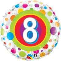 Age 8 Colourful Dots Round Foil Balloon (46 cm):