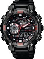 Q&Q Mens Outdoor Black Wrist Watch with Red Accents: