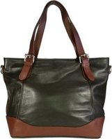 Icon Leather Tote Handbag - Large Enough for Notebooks (Brown):