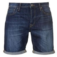 Jack & Jones Mens Jeans Intelligence Rick Denim Shorts (Dark Wash) [Parallel Import]: