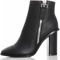 Quiz Women Side Zip Ankle Boots (Black):