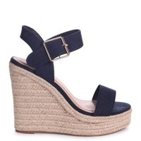 Linzi Ladies CUBA Rope Platform Wedge - Navy Suede:
