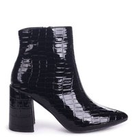 Linzi Ladies ALICE Block Heeled Boot With Pointed Toe - BlackCroc Patent: