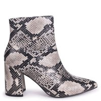 Linzi Ladies ALICE Block Heeled Boot With Pointed Toe - NaturalSnake: