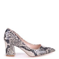 Linzi Ladies MAGIC Block Heel Court Shoe - NaturalSnake: