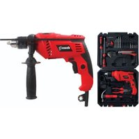Casals 600W Impact Drill with Variable Speed and 50 Piece Accessory Set - 13mm Chuck (Red):