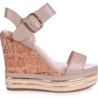 Linzi Ladies APRIL Nappa Cork Wedge With Gold & Rope Trim - Taupe PU: