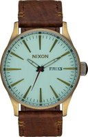 Nixon Men's Sentry Leather Analog Watch (Brass, Green Crystal & Brown):