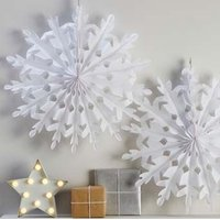 Ginger Ray Christmas Metallics White Giant Snow Flakes (Pack of 2):