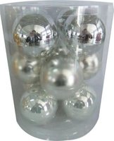 Silver Glass Baubles 8cm Silver (Pack of 12):