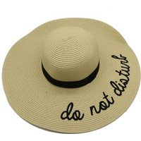Social Concepts Summer Sun Straw Hat with Writing - Do Not Disturb (Beige):