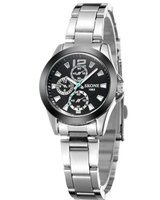 skone shefford steel ladies watch-black: