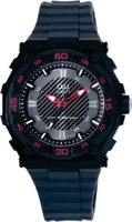 Q&Q Mens Outdoors Black Metal Plastic Quartz Wrist Watch with Red Accents: