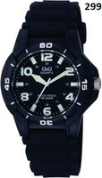 Q&Q Mens Multifunction Black Analog Wrist Watch with Black Face and Black Strap: