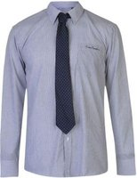 Pierre Cardin Mens Long Sleeve Shirt with Giorgio Tie (Navy and White Stripe):