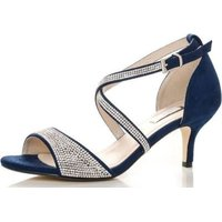 Quiz Women Diamante Low Heel Sandals (Navy):
