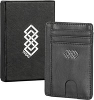 WEAV RFID Blocking Genuine Leather Slim Wallet - Black: