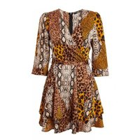 Quiz Ladies Animal Print Wrap Dress - Brown: