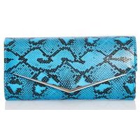 Quiz Ladies Snake Print Envelope Bag - Blue: