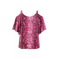 Quiz Ladies Snake Print Cold Shoulder Top - Pink: