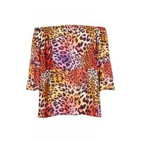 Quiz Ladies Leopard Print Bardot Topulticoloured: