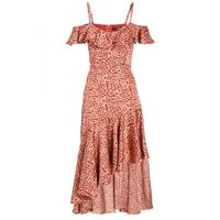 Quiz Ladies Leopard Cold Shoulder Frill Dress - Rust: