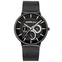 CRRJU 2153 Mens Milanese Mesh Watch - Black and Gold: