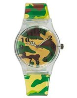 Cool Kids Funky Slim Analogue Army Watch (Green):