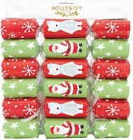 "Holly & Ivy 12"" Value Crackers - Santa and Bear Characters (6 Pack):"