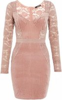 Quiz Ladies Velvet Lace Bodycon Dress (Pink):
