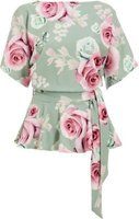 Quiz Ladies Floral Print Peplum Top (Sage):