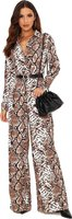 I Saw it First Ladies Snake Print Jumpsuit (Grey):