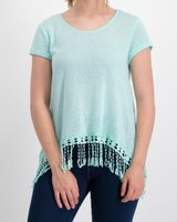 Crochet Cover Up Tee (Lime):