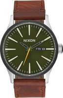Nixon Men's Sentry Leather Analog Watch (Brown):