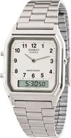 Casio Vintage Analog & Digital Wrist Watch (White & Silver):