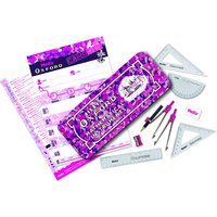 Helix Oxford 10 Piece Maths Set (Camo - Pink):