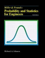 Miller and Freund's Probability and Statistics for Engineers (Paperback, 6International ed): Irwin Miller, John E. Freund