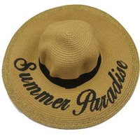 Social Concepts Summer Sun Straw Hat with Writing - Summer Paradise (Camel):