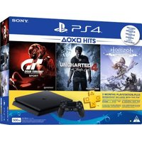 Sony PlayStation 4 Slim Console (500GB) - With Horizon Zero Dawn: Complete Edition, Uncharted 4: A Thief's End, Gran...