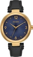 Nixon Ladies Chameleon Leather Analog Watch (Black, Gold & Navy):