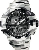 Q&Q Mens Outdoor Sports Black & White Camouflage Wrist Watch: