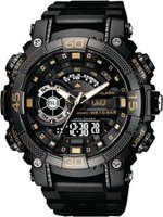 Q&Q Mens Multifunction Business Sport Wrist Watch with Black Face and Strap with Gold Accents: