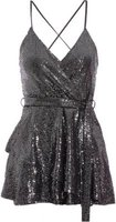 Quiz Women Sequin Wrap Playsuit (Black and Silver):